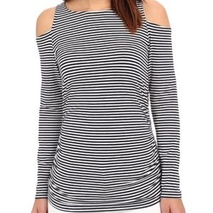Michael Kors Cold Shoulder Black and White Stripe